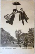 MONTAGE SURREALISME FICTION UTOPIE ANTICIPATION UNE EXCURSION A PARIS EN PARAPLUIE - Contraluz