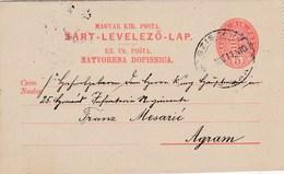 Hongrie - Carte-lettre De Sziszek (Sizak-Croatie) Pour Agram (Zagreb-Croatie) - 10 Août 1899 - Préaffranchie 5f - 2 CAD - Postal Stationery