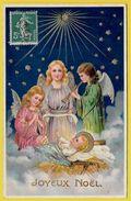 """CPA  """"JOYEUX NOËL"""" Nativité De JESUS Les Anges Et L'Etoile ** Ange Angelot Angelots Musique - Unclassified"""