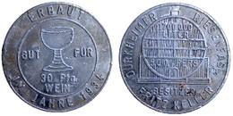 01356 GETTONE TOKEN JETON FICHA KANTINE WEINMARKE DURKHEIMER REISENFASS BESITZER FRITZ KELLER 1934 ALU - Duitsland