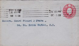Grande-Bretagne - Entier Postal De London - 8 Octobre 1908 - Préaffranchi 1 Pence - CAD - Stamped Stationery, Airletters & Aerogrammes