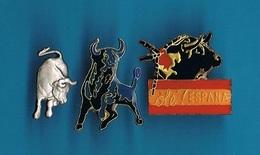 3 PIN'S  //   ** TAUREAUX ** OLÉ ! ESPAÑA ** - Bullfight - Corrida