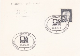 Germany Card 1974 FIFA World Cup Germany Football - Berlin  (DD9-40) - Coppa Del Mondo