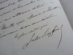 Jules SIEGFRIED (1837-1922) Maire LE HAVRE. Député. Ministre Colonies ... AUTOGRAPHE - Handtekening