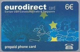 ES.- Telefonica De Espana. EURODIRECT CARD. EUROPA USA CANADA AUSTRALIA & SINGAPORE. Prepaid Phone Card. - GSM-Kaarten, Herlaadbaar & Voorafbetaald