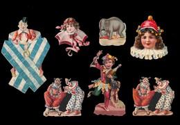 7 CHROMOS DECOUPIS - Clowns Et Masques - 100x65 La Plus Grand - Découpis