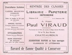ANCIEN BUVARD Paul VIRAUD - Librairie Papeterie à Châteauroux (Indre) - Stationeries (flat Articles)