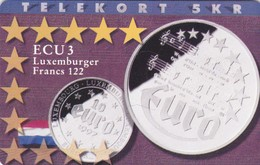 Denmark, P 173, ECU-Luxemburg, Mint, Only 700 Issued, Coins, Flag, 2 Scans. - Denmark