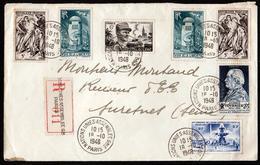 FRANCE LETTRE RECOMMANDEE AVEC TIMBRES ANNEES 50 ET CACHET NATIONS UNIES DU 18/10/1948 - Marcophilie (Lettres)