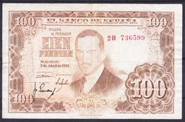 ESPAÑA 1953   100 PESETAS. JULIO ROMERO DE TORRES  MBC   B048 - [ 3] 1936-1975 : Regency Of Franco
