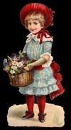 CHROMO DECOUPIS GRAND FORMAT - Fillette Avec Chapeau Rouge Et Un Panier De Fleurs - 230x95 Mm - Enfants