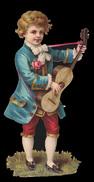 CHROMO DECOUPIS GRAND FORMAT - Garçon Avec La Guitare - 210x100 Mm - Enfants