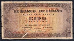 ESPAÑA 1938 100 PESETAS.GOBIERNO DE BURGOS.  MBC   B050 - [ 3] 1936-1975 : Regency Of Franco
