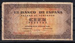ESPAÑA 1938 100 PESETAS.GOBIERNO DE BURGOS.  MBC   B051 - [ 3] 1936-1975 : Regency Of Franco