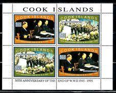 "Cook Islands     ""End Of The World War II""     Sheet Of 4    SC# 1198    MNH    SCV$ 44.00 - Militaria"