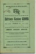 CAF CONC CATALOGUE PARTITION GASTON GROSS (FILS DE GUSTAVE) VERS 1920 AVEC 43 PAGES D'INFORMATIONS... - Otros