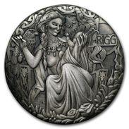 2017 Tuvalu 2 Ounces Silver Norwegian Goddess: Frigg (High Relief). - Tuvalu