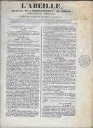 """Journal  CORBEIL """"L'Abeille"""" 14/12/1838 Timbre Fiscal à Sec """"timbre Royal 3c Seine"""". Administratif,commercial,judiciaire - 1800 - 1849"""
