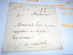 1772!!!! -BASSES ALPES - Lettre TAXEE  - MARQUE POSTALE -Tampon A SEC (SISTERON) IND/12 = 110,ooeur!!!!- Pour MARSEILLE - Marcophilie (Lettres)