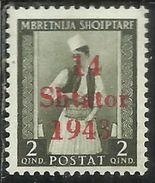 ALBANIA OCCUPAZIONE TEDESCA GERMAN OCCUPATION 1943SOPRASTAMPATO 14 SETTEMBRE 1942 SHATOR OVERPRINTED 2Q MNH - Occ. Allemande: Albanie