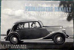 AUTOMOBILE PRIMAQUATRE RENAULT CATALOGUE DE PRESENTATION COMMERCIALE 1939 HUIT PAGES DE DOCUMENTATION ET PHOTOS - Voitures