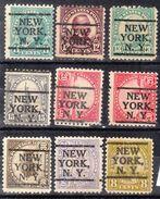USA Precancel Vorausentwertung Preo, Locals New York, New York L-6 E, 9 Diff. Perf. 8 X 11x11, 1 X 11x10 1/2 - Vereinigte Staaten
