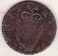 Irlande. ½ Penny 1766, GEORGE III, Copper, KM# 137 - Irlande