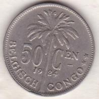 CONGO BELGE , 50 CENTIMES 1924 , Légende Flamande .Albert I - Congo (Belgian) & Ruanda-Urundi