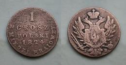 Polen - Nikolaus I 1 Grosch 1824 IB Seltene Variante ! Kupfer    (R497) - Polen