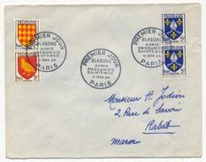 FRANCE - Enveloppe Affr Blasons Aunis - Angoumois - Saintonge - 1954 PARIS - Premier Jour - France