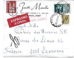 """44 - 29 - Enveloppe Envoyée D'Italie En Suisse - Timbre Suisse Avec Cachet """"T"""" Taxe 1972 - Portomarken"""