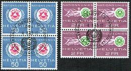 O.N.U. LA SERIE 2xBLOCS DE 4 OBLITERES 1er/J.4.2.1963. C/.S.B.K. Nr:38/39. Y&TELLIER Nr:434/435. MICHEL Nr:38/39. - Dienstpost