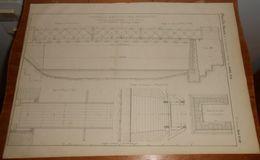 Plan D'une Passerelle En Bois à Poutres Américaines Construite Sur La Colombine En Haute Saône. 1856. - Public Works