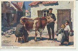 """AK """"Kuh Wird Gemolken"""" - Weltkrieg 1914-18"""