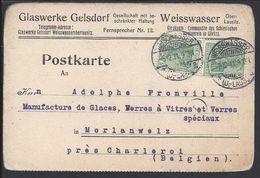 ALLEMAGNE - 1911 - Timbres Empire Sur Carte Postale Commerciale De Weisswasser Pour Morlanwelz (BEL). B/TB - - Germany
