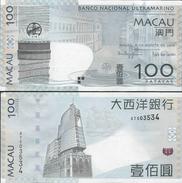 Macau 2010 - 100 Patacas - Banco Nacional Ultramarino Pick 82 UNC - Macau