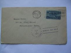CUBA - 1927 Air Mail Cover - Havana To Philadelphia USA With Habana - Key West Air Mail Cachet - Cuba