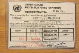 Permis De Conduire D'un Casque Bleu Français De La FORPRONU - UNPROFOR Driver's Permit - Vehicles