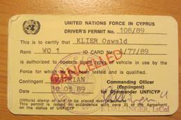 Permis De Conduire D'un Casque Bleu Autrichien De L'UNFICYP (Chypre) - UNFICYP Driver's Permit - Vehicles