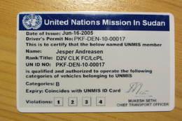 Permis De Conduire D'un Casque Bleu De La MINUS (Soudan) UNMIS Driver's Licence - Vehicles