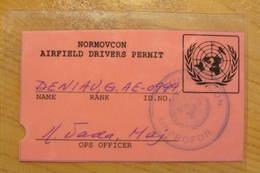 Permis De Conduire Sur L'aéroport De Sarajevo - FORPRONU  - UNPROFOR NORMOVCON - Véhicules