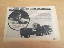 Page De Revue Des Années 60/70 : PUBLICITE MODELE REDUIT PROJECTEUR MILITAIRE EUROPARC , Format : 1/2 Page A4 - Tanks