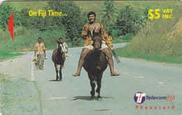 Fiji, 29FJC, 1999 On Fiji Time, Villager On Horseback, 2 Scans - Fiji