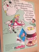 Page De Revue Des Années 60/70 : PUBLICITENUTELLA CUBITUS ROBIN DUBOIS MODESTE ET POMPON MINI BD  Format : Page A4 - Nutella