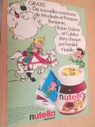 Page De Revue Des Années 60/70 : PUBLICITE NUTELLA CUBITUS ROBIN DUBOIS MODESTE ET POMPON MINI BD  Format : Page A4 - Nutella