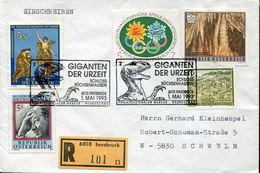 29166  Austria, Special Postmark 1993  Circuled Registered Cover Showing A Dinosaur Prehistory - Préhistoire
