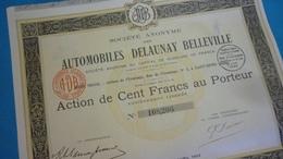 Action Année1924 Automobiles DELAUNAY BELLEVILLE 100 Francs Au Porteur - Automobile