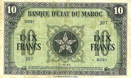 MOROCCO FRANCAICE 10 FRANCS MOTIF FRONT ARABIC BACK DATED 1-5-1943 P.25 VF READ DESCRIPTION!! - Maroc