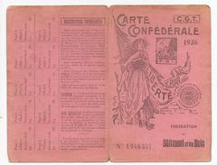Carte Confederale CGT 1936 Du Batiment Et Du Bois - Vieux Papiers
