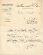 Anc. Lettre Commerciale /Turbines Hydrauliques/Etablissements E GROS/ Ingénieur-Constructeur/TOULOUSE/1912     FACT251 - Electricité & Gaz